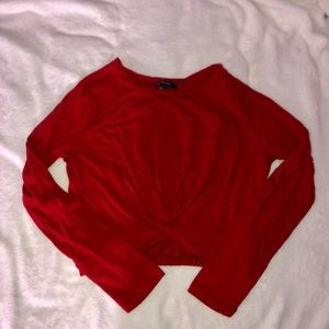 Red Cropped Long Sleeve Top